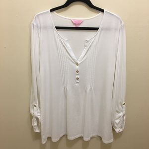 Lilly Pulitzer Long Sleeved White Blouse